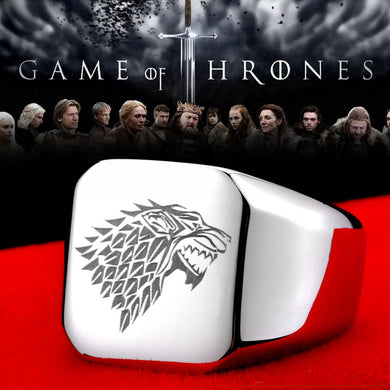 stainless steel game of thrones  ring ice wolf men titanium steel