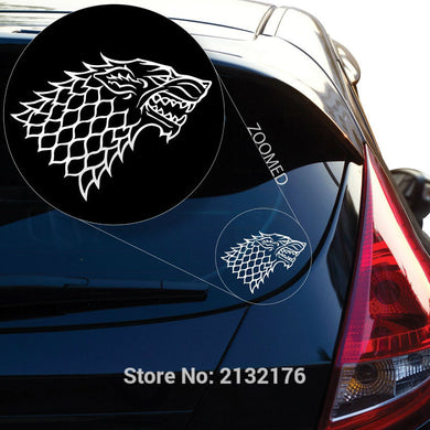 Starks Banner Game of Throne Decal Sticker 6'' White Black