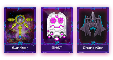 NFTs as Astrominer starships from the DeFi game Cometh.io