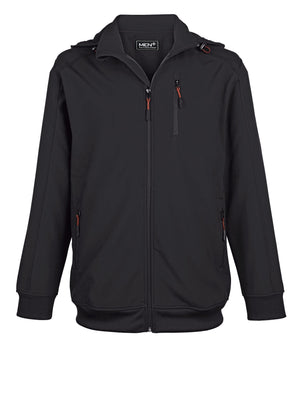 Men Plus by Happy Size softshell jakna za postave z večjim obsegom čez trebuh s kapuco