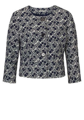 Betty Barclay blazer s potiskom po celem in z velikimi gumbi,