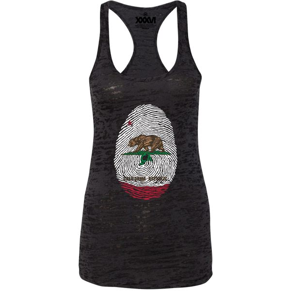 California Fingerprint Women Burnout Tank Top