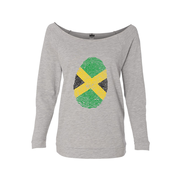 Jamaica Fingerprint 3/4 Sleeve Off-Shoulder Top