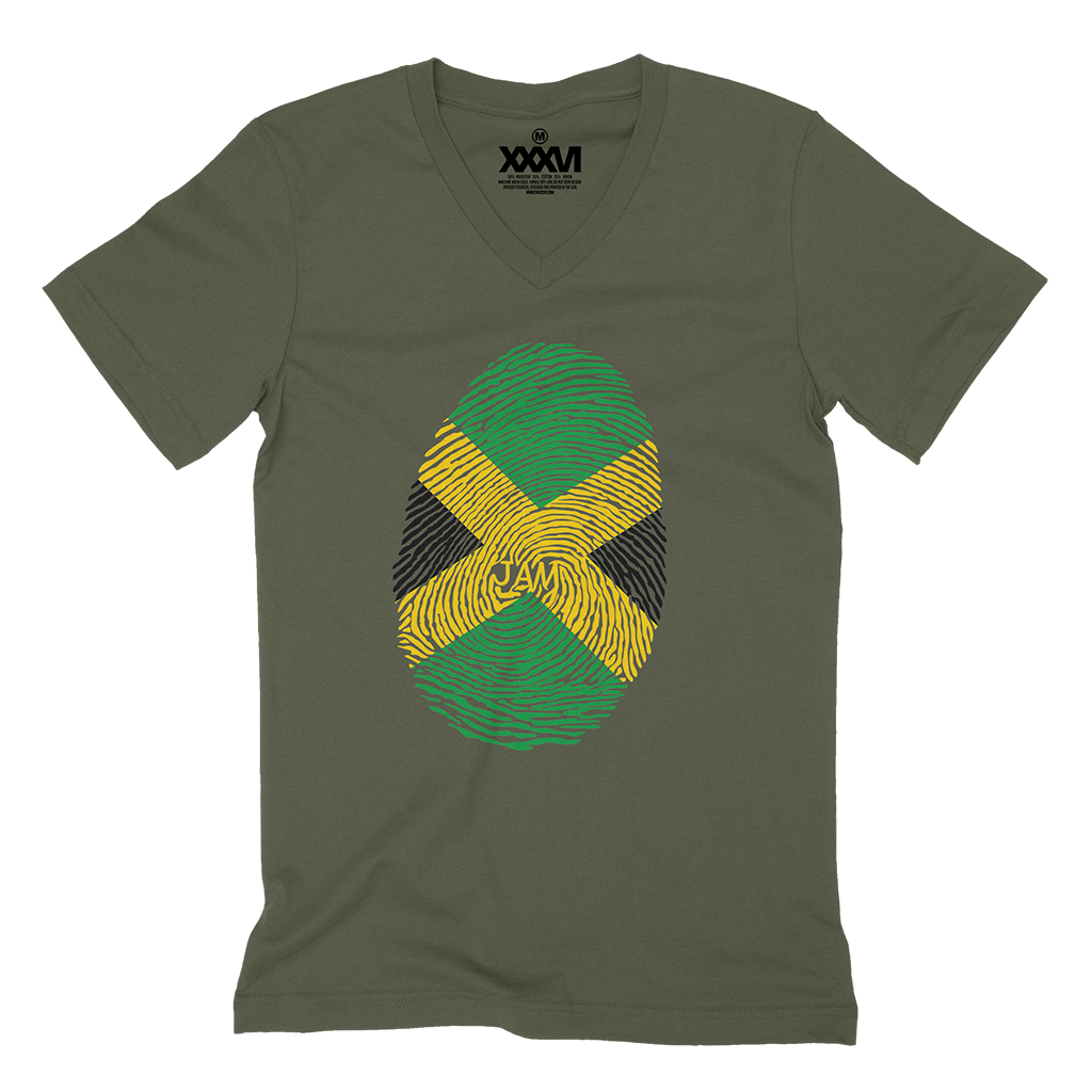 Jamaica Fingerprint V-Neck Shirt
