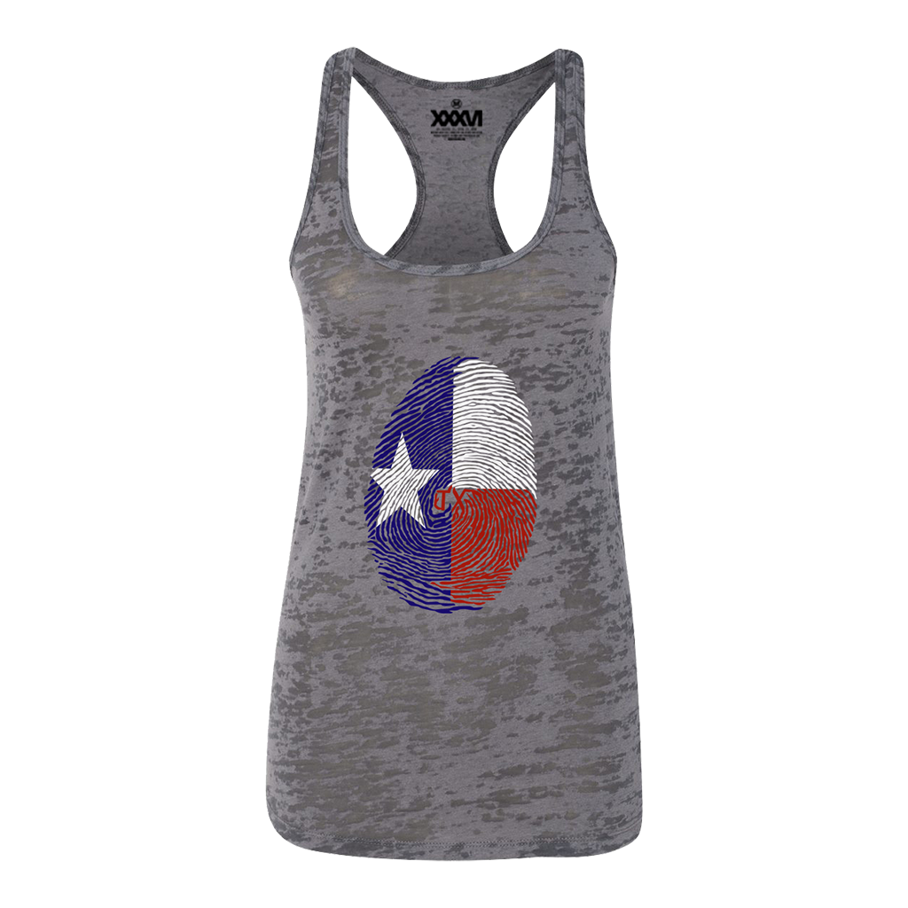 Texas Fingerprint Women Burnout Tank Top