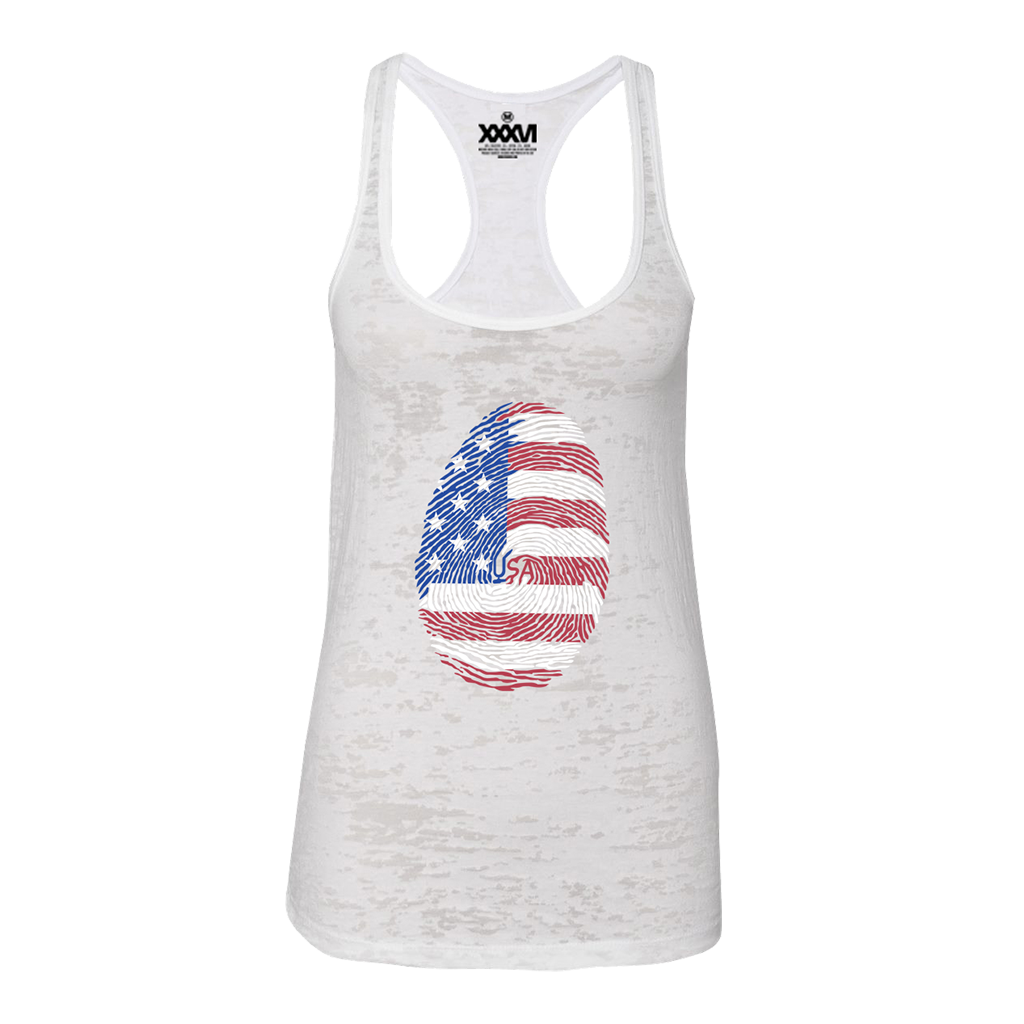 USA Fingerprint Women Burnout Tank Top