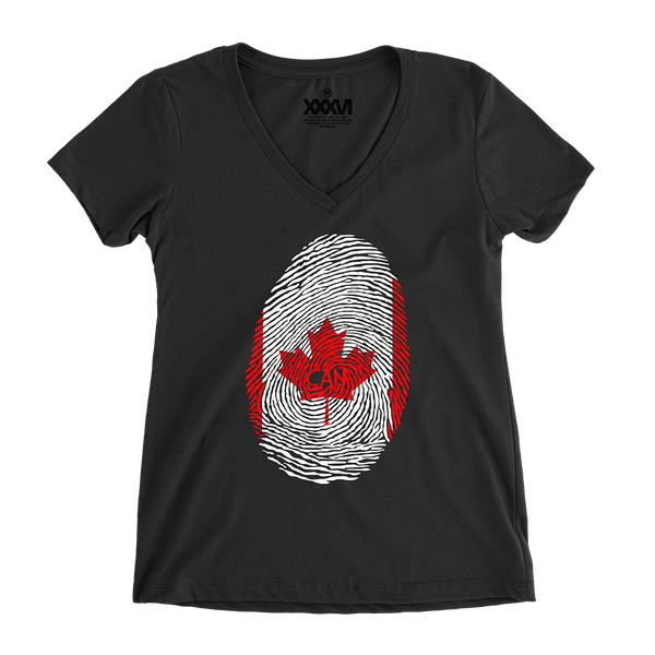 Canada Fingerprint Women V-Neck Shirt