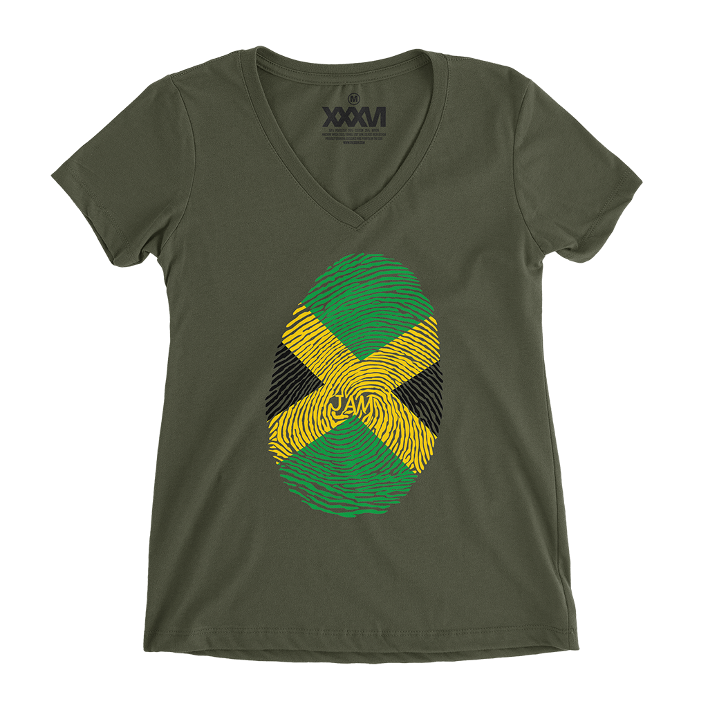 Jamaica Fingerprint Women V-Neck Shirt