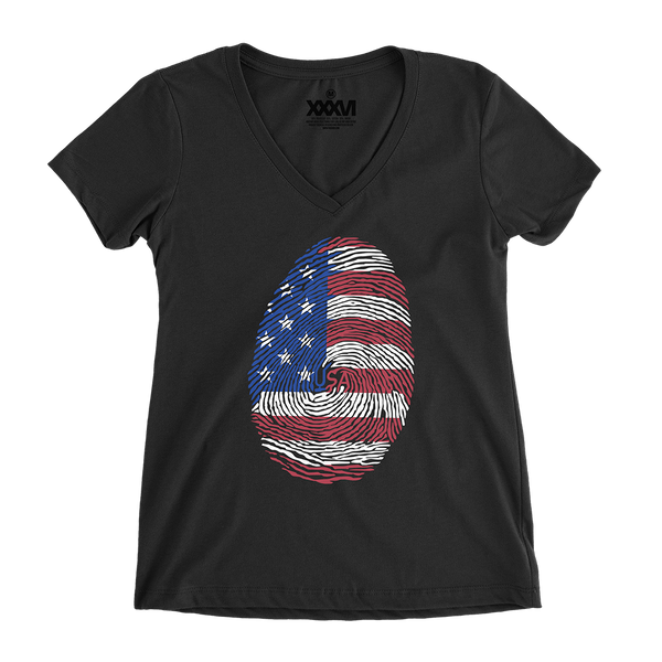 USA Fingerprint Women V-Neck Shirt