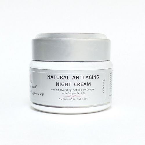 Natural Anti-Aging Night Cream delivers smoother softer skin with liposomal vitamins. It contains glycerine and squalene, and is ideal for the patient who is not overly dry, but requires a light moisturizer. It can be used for acne patients with dry skin.