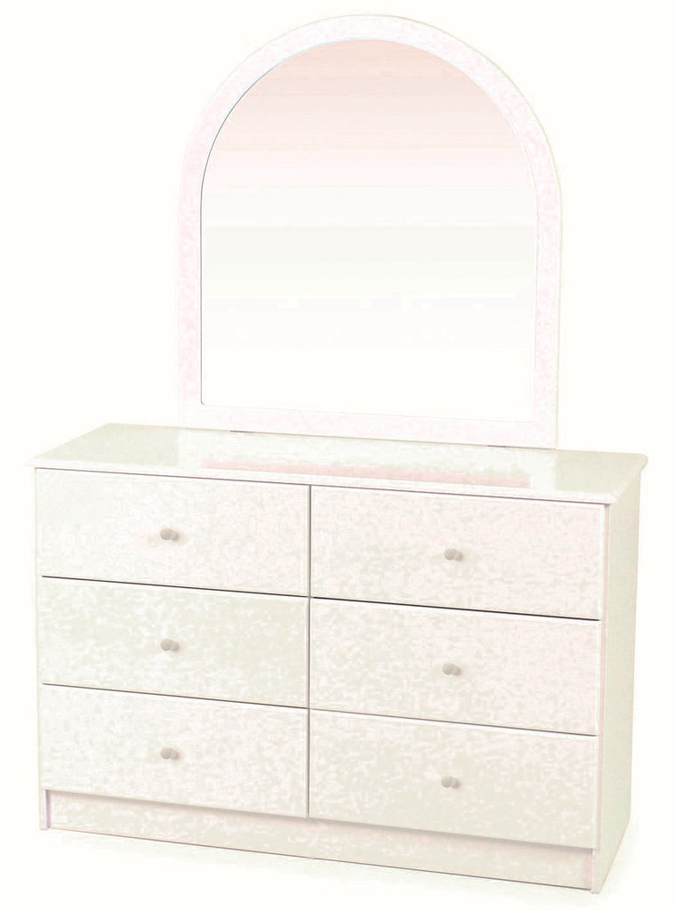 Kingston White 6 Drawer Dresser with Mirror