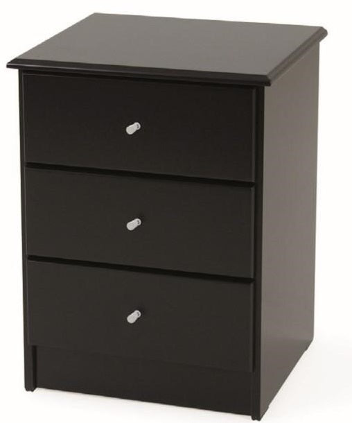 Kingston Black 3 Drawer Bedside
