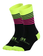 Load image into Gallery viewer, DeZwift Cycling Socks (Yellow&Pink)