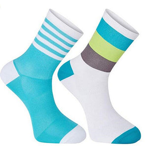 Blue & Green Fringe Cycling Socks