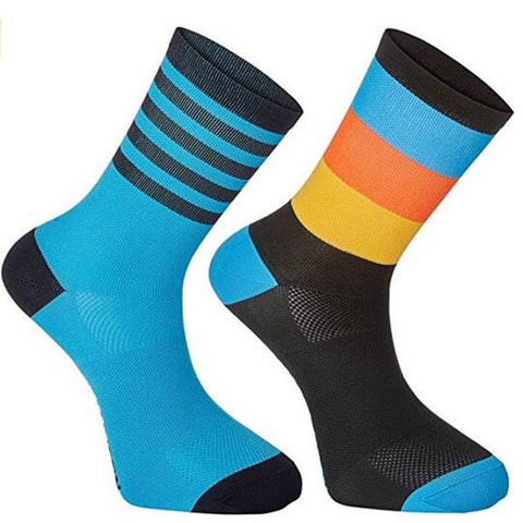 Blue & Orange Fringe Cycling Socks