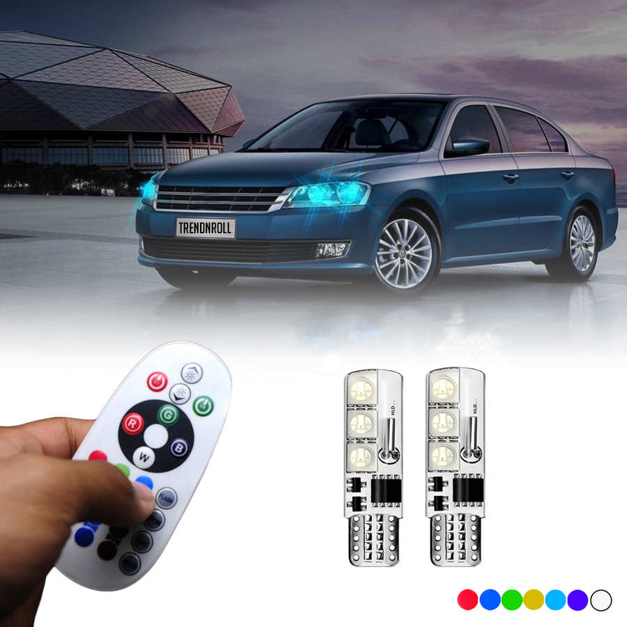 v2 Remote Control T10 LED Multicolored Bulbs (2-8 Bulbs Pack)