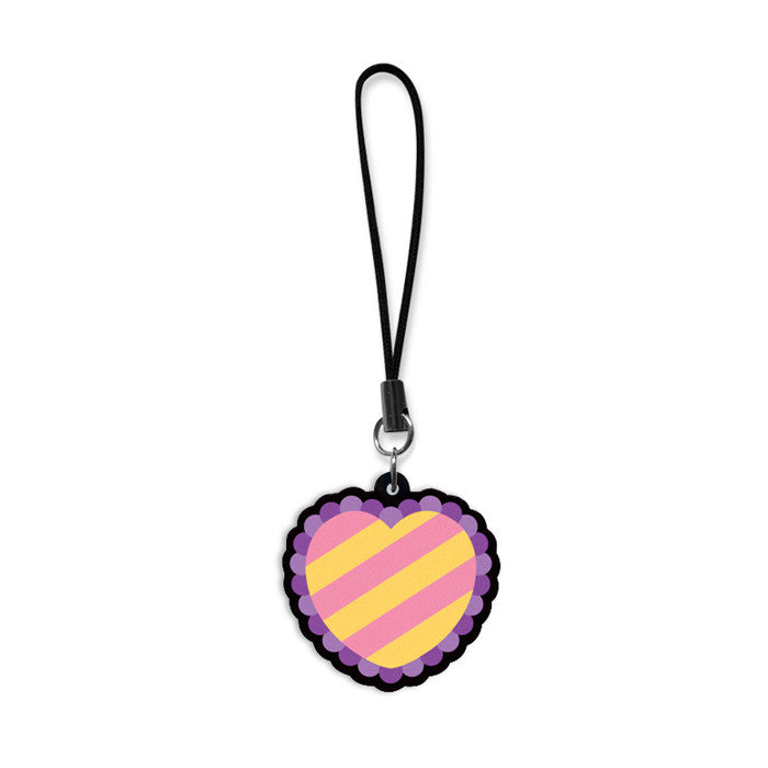 Striped Heart Phone Charm