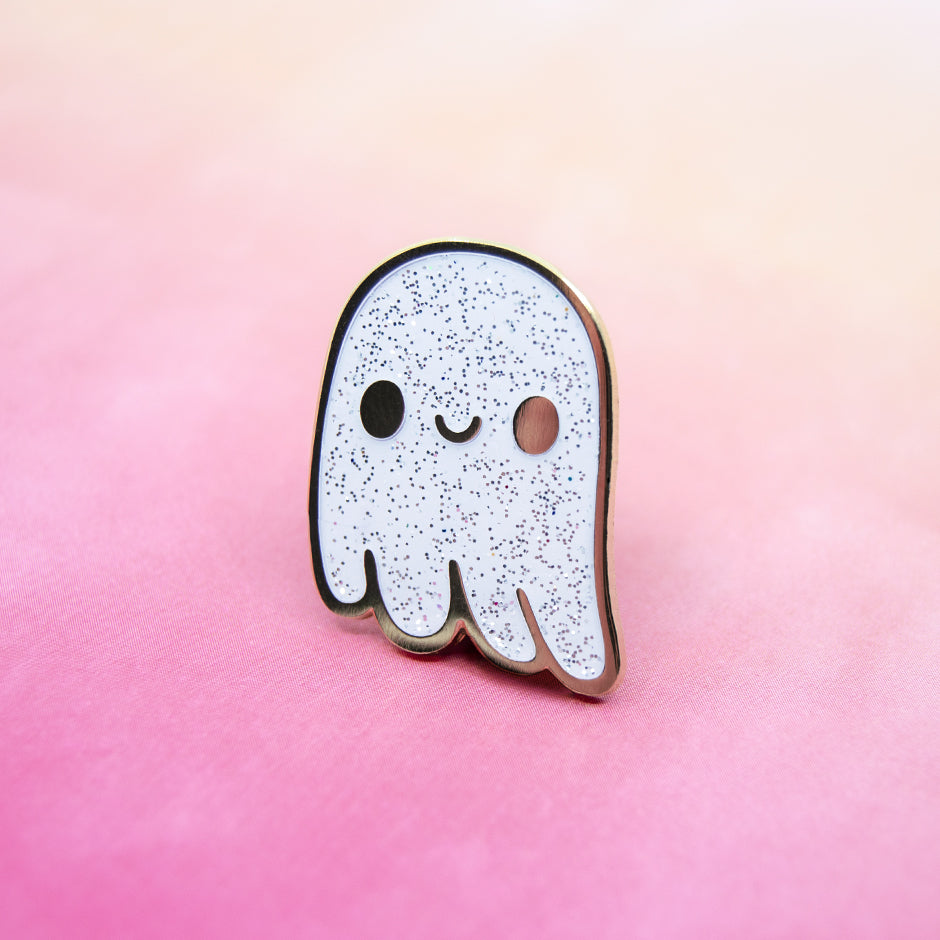 Glitter Ghost Enamel Pin