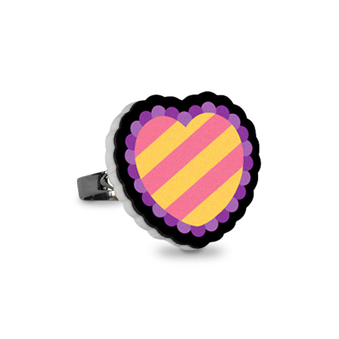 Striped Heart Ring