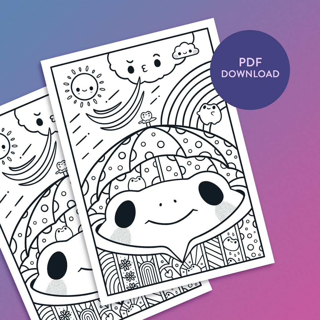 Rainy Day Frog Colouring Sheet Download