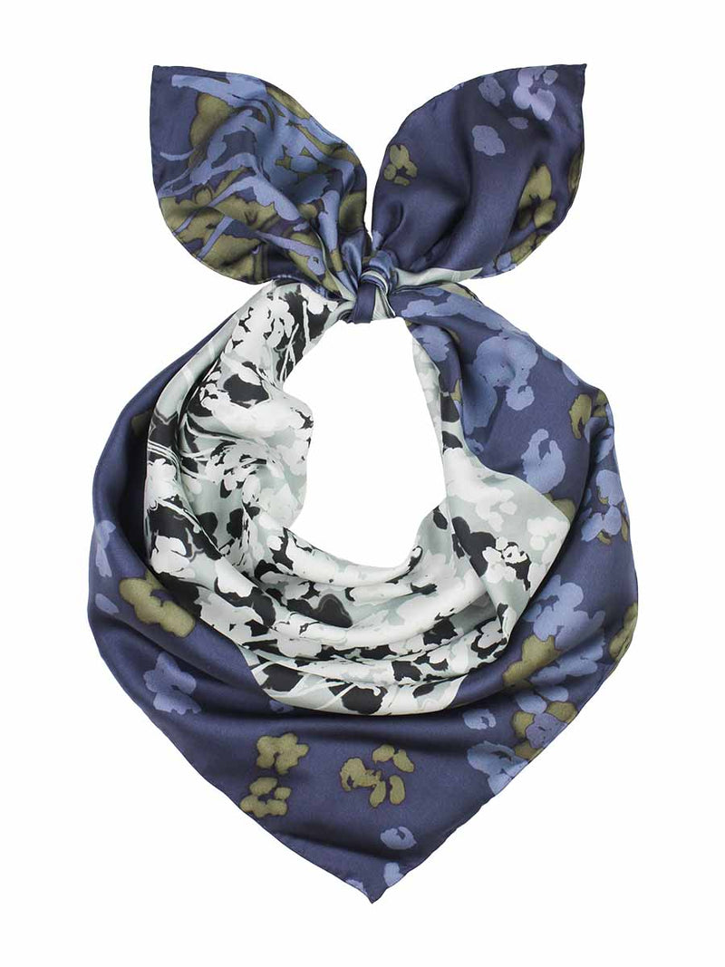 The Rain Square Silk Scarf  - Ash Gray Denim