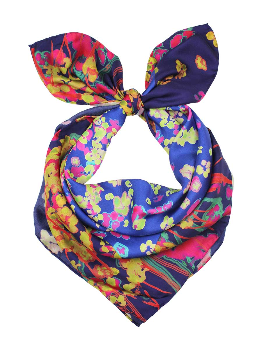 The Rain Square Silk Scarf  - Princess Blue
