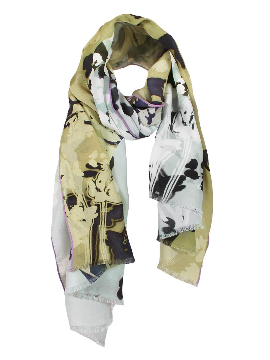 The Rain Long Silk Scarf  - Ash Gray Sand