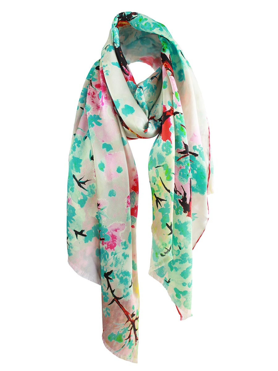 The Whisper Long Silk scarf  - Teal