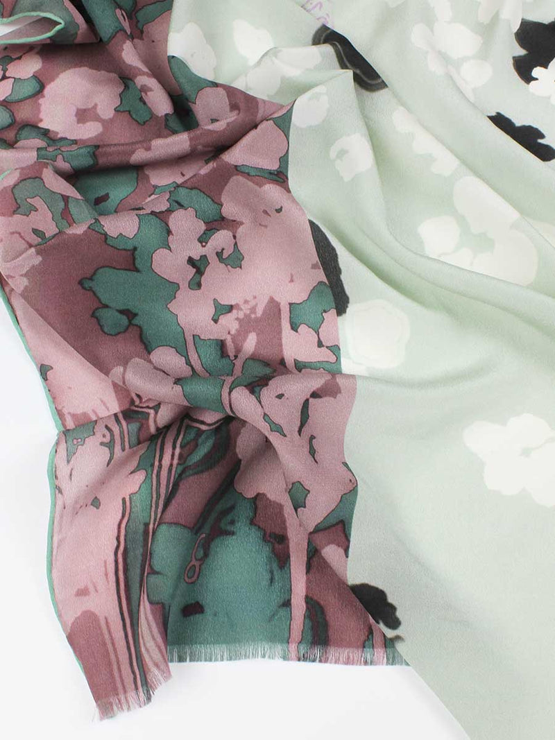 The Rain Long Silk Scarf  - Ash Gray Plum