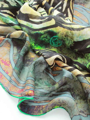 The Swirl Silkwool Oversized Scarf - Peony Forest