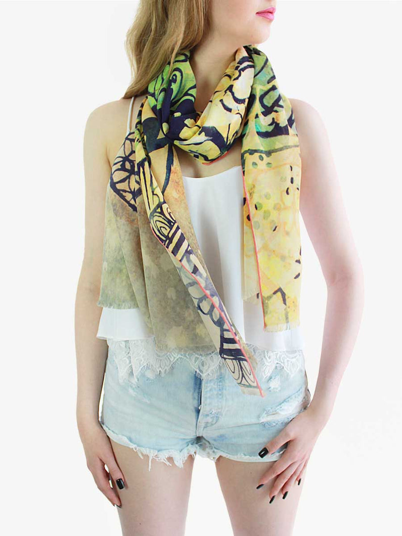 The Dancer Long Silk Scarf - Lantern