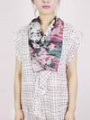 The Rain Square Silk Scarf  - Ash Gray Plum