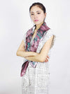 The Swirl Square Silk Scarf - Peony Red