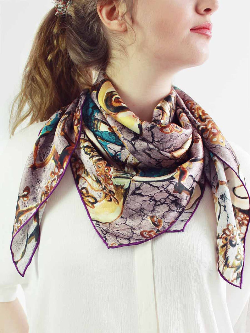 The Window Square Silk Scarf - Earthy Rose