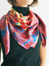 The Rain Square Silk Scarf  - Red