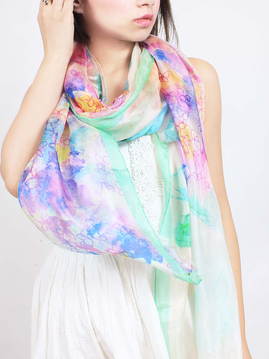 The Wish Superlight Silk Summer Scarf - Hydrangea