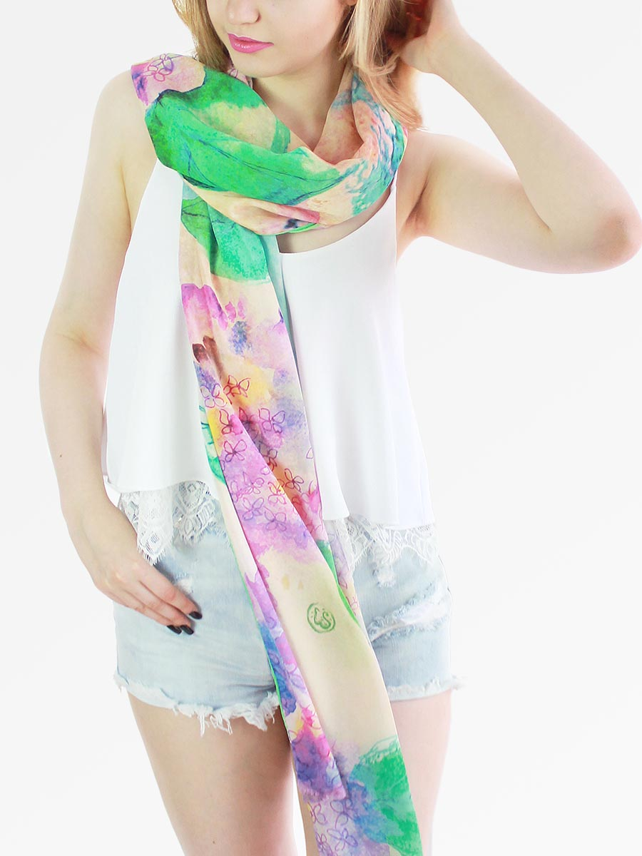The Wish Long Silk Scarf - Hydrangea