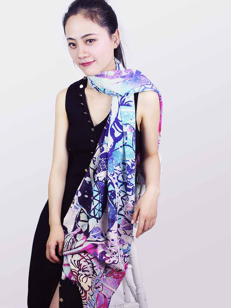 The Dancer Long Silk Scarf - Smoky Mountain
