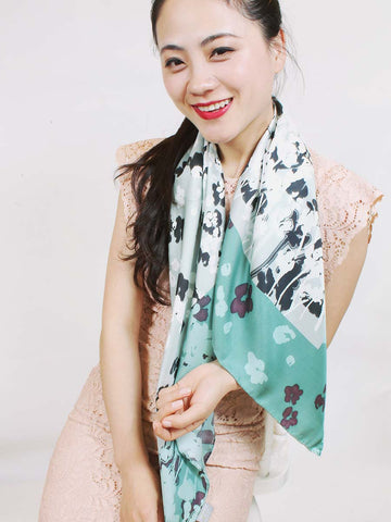 The Rain Square Silk Scarf  - Ash Gray Sand