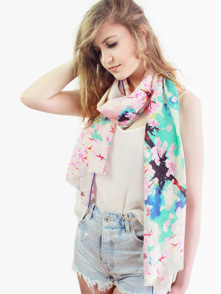 The Whisper Long Silk scarf  - Pink
