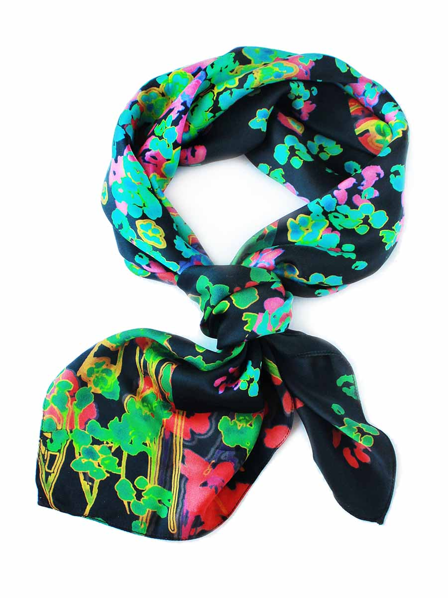 The Rain Square Silk Scarf  - Ink