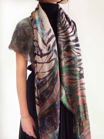 The Rain Square Silk Scarf  - Ash Gray Teal
