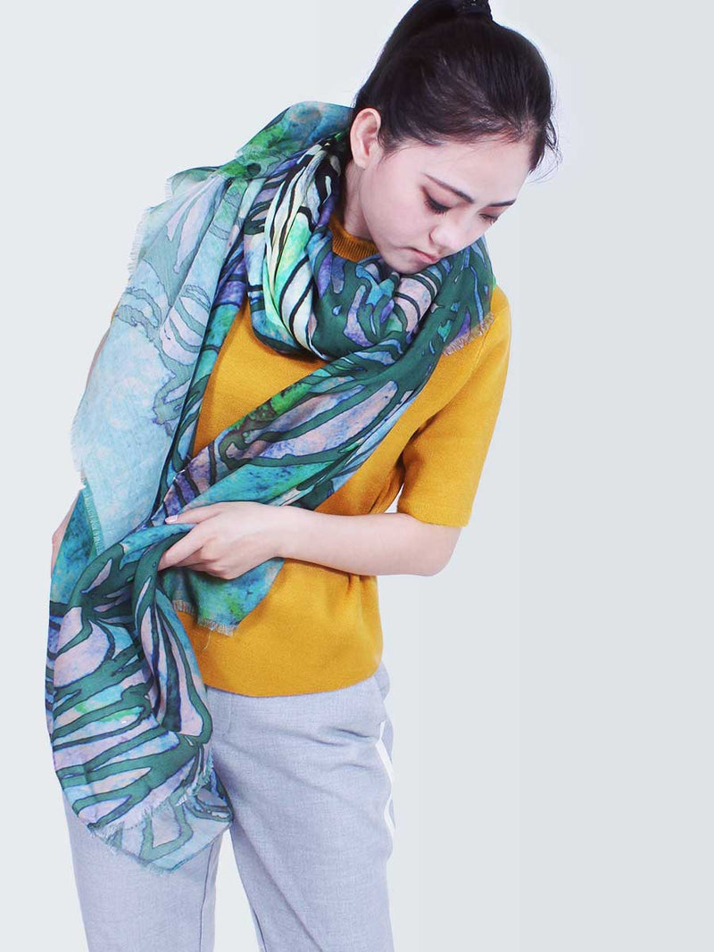 The Swirl Silkwool Oversized Scarf - Daisy