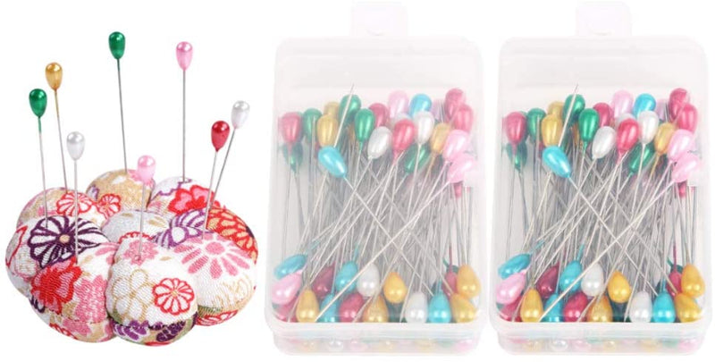 Metene Pin Cushions Premium Glass Head Multicolor Sewing Straight Pins