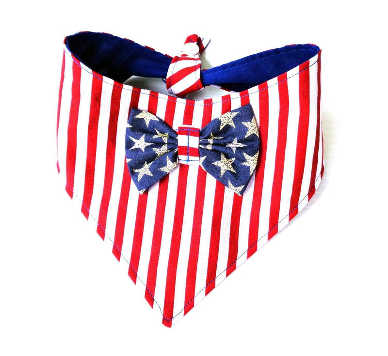 Metene Neck wear Tie On Snap Closure 2 in 1 Stars Stripes Patriotic Red White Blue