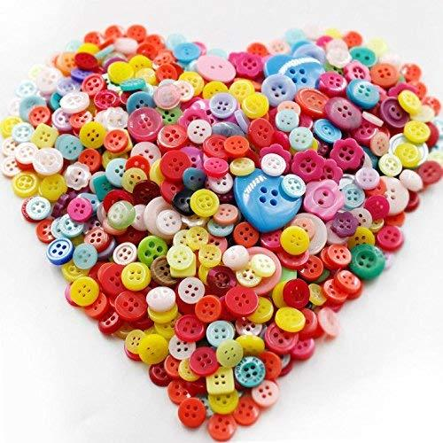 Metene 500-700 PCS Assorted Mixed Color Resin Buttons 2 and 4 Holes Round Craft for Sewing DIY Crafts Children's Manual Button Painting,DIY Handmade Ornament.