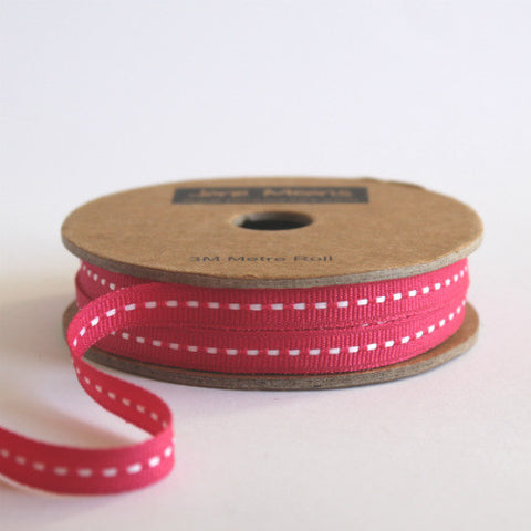 Narrow Fuchsia Stitched Ribbon 7mm (100M)