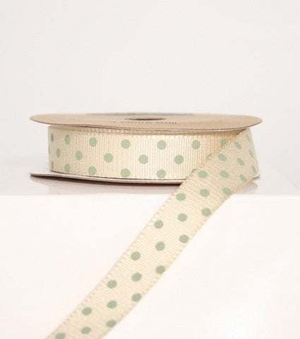 Cream and Sage Spotty Ribbon (100M)