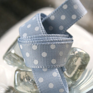 Blue and Cream Dotty Ribbon (100M)