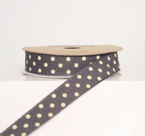 Slate Grey and White Dotty Ribbon (100M)